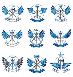 Vintage weapon emblems set heraldic signs vintage vector