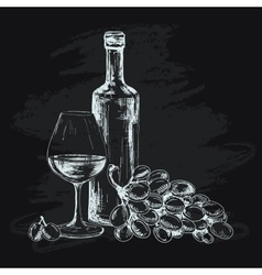 Wine glass and grapes vector image vector image