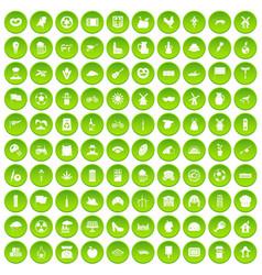 100 mill icons set green circle vector
