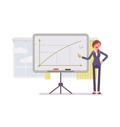 Woman drew a positive graph on the whiteboard vector