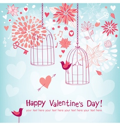 Floral card for valentines day vector