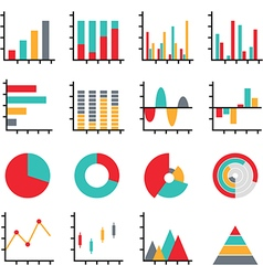 Set of business data graph diagram vector