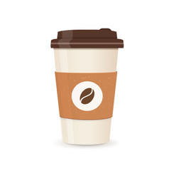 Realistic paper coffee cup large size coffee vector
