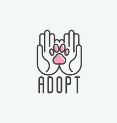 thin line of adopt pet banner vector image