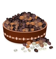 Various kind of coffee beans in a pail vector