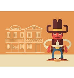 Cowboy with guns vector