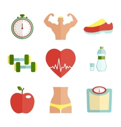 Set of flat health and sport icons vector