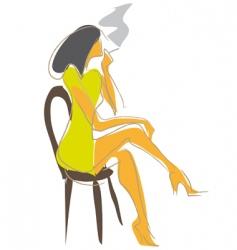smoking girl vector image