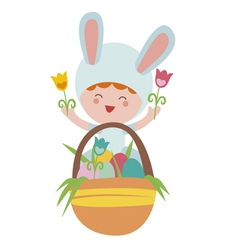 Easter with baby rabbit and basket with eggs vector