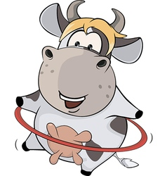 A small cow and a hula hoop cartoon vector