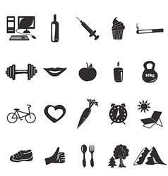 Black icons health vector