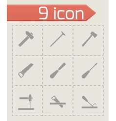 Black carpentry icon set vector