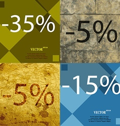 5 15 icon set of percent discount on abstract vector