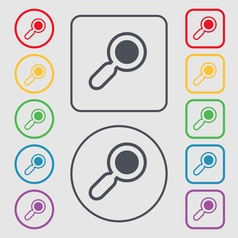Magnifying glass zoom icon sign symbol on the vector