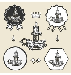 Christmas candle vintage symbol emblem label vector