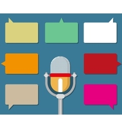 Microphone with speech bubble icons vector