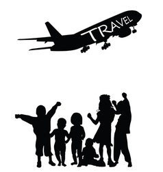 Children with travel vector