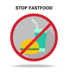 Fastfood prohibitory sign vector