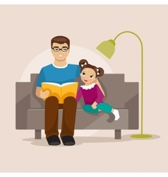 Father reading a book to her daughter vector