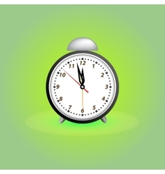 Alarm clock on green background vector
