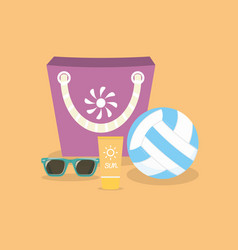 Ball suntan creamsunglasses and bag on a sand vector