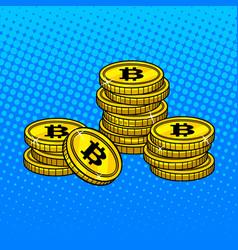Bitcoin money pop art style vector