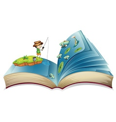 Book of boy fishing in the pond vector