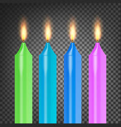 Burning 3d realistic dinner candles flame vector