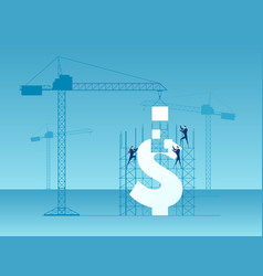 business team construction crane and building vector image vector image