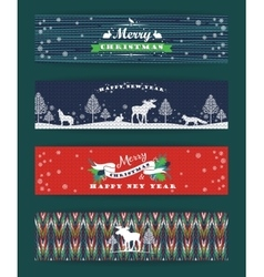 Christmas and New Year Set Knitted backgrounds vector image