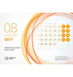 Desk calendar for 2017 year august week starts vector