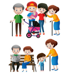 Different generations of family members vector