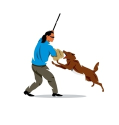 Dog training biting pet and person vector