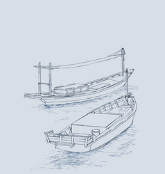 Drawing of fishing trawler at the sea vector