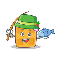 Fishing waffle character cartoon design vector