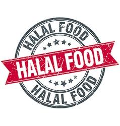 Halal food red round grunge vintage ribbon stamp vector