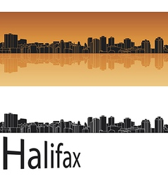 Halifax skyline in orange background vector image