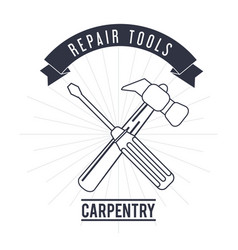 hammer screwdriver tool icon repair concept vector image