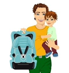 Happy father holding his son and a car seat vector