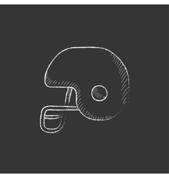 Hockey helmet drawn in chalk icon vector