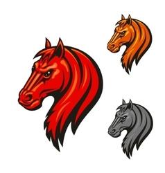 Horse head emblem with fierce black eyes vector