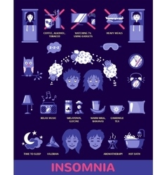 insomnia icons in flat style vector image