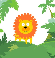 lion in forest vector image vector image