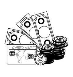 monochrome contour with money bills and coins and vector image vector image