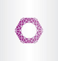 Purple hexagon polygon frame vector