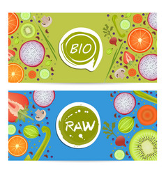 Raw food horizontal flyers set vector