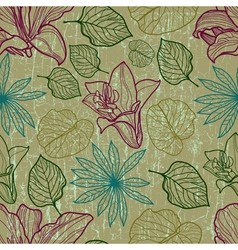 seamless floral pattern with herbarium vector image vector image