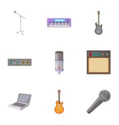 sound recording studio icons set cartoon style vector image