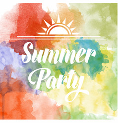 Summer party poster om watercolor background vector