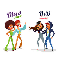 Two cartoon couples dancing dance in disco vector